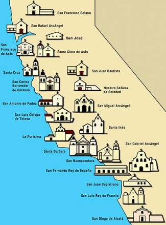 Ecco le 21 mission in California