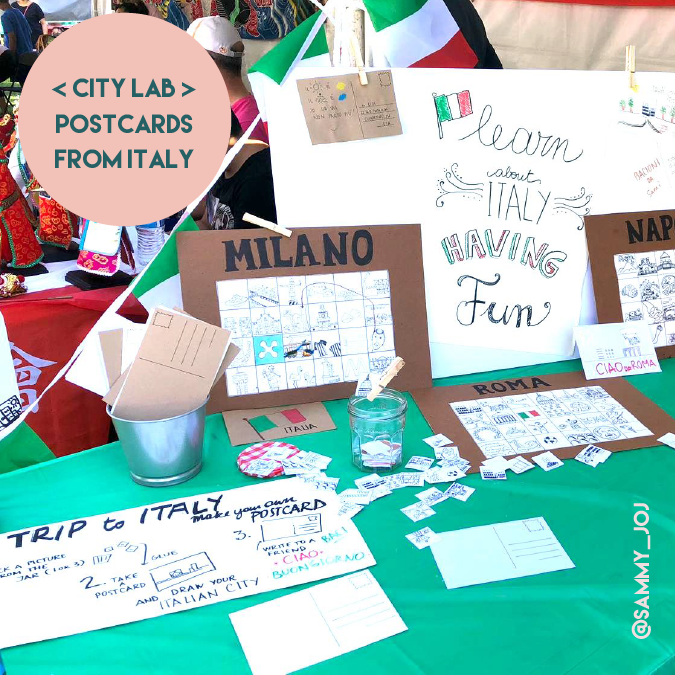a trip to italy, make your own postacard, art for kids